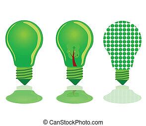 three green light bulb illustration