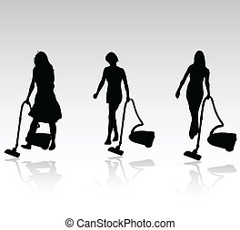 three cleaning women vector silhouettesb