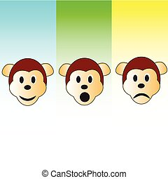 three monkey head illustration