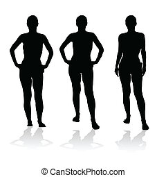 three black silhouette of girl