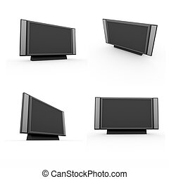 3d render of television set on white