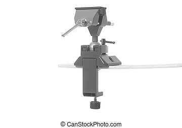Metal table vise clamp isolated on white background