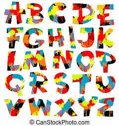 pintura, letras, esguichos, alfabeto