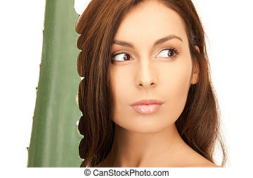 lovely woman with aloe vera - picture of lovely woman with...