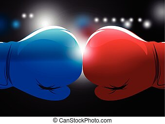 Red and blue boxing gloves with light background