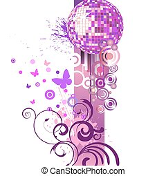 party design - vector illustration of circles, butterflies,...