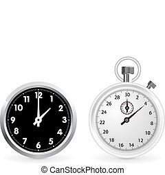 Clock and stopwatch - Realistic clock and stopwatch...