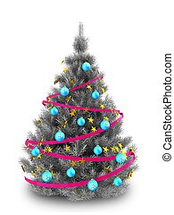 3d silver Christmas tree - 3d illustration of silver...