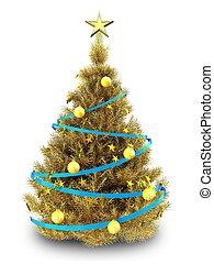 3d golden Christmas tree - 3d illustration of golden...