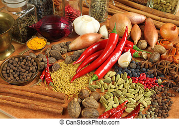 Food - Spices and herbs choice Aromatic ingredients and...