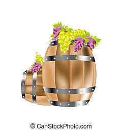 Wooden barrels and grape