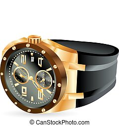 luxury golden man watch - illustration of luxury golden man...