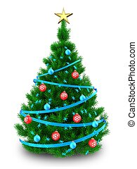 3d Christmas tree - 3d illustration of Christmas tree with...