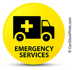 Emergency services yellow round button - Emergency services...