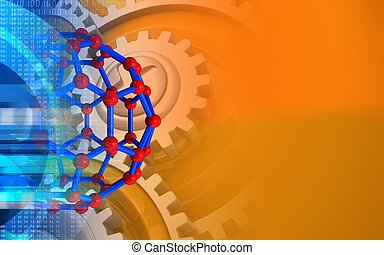 3d gears - 3d illustration of molecular structure over...