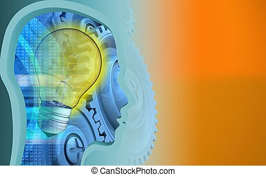 3d blue gears - 3d illustration of light bulb over orange...