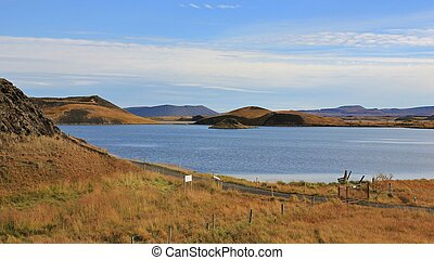 Lake Myvatn in late summer, Iceland. - Lake Myvatn and...