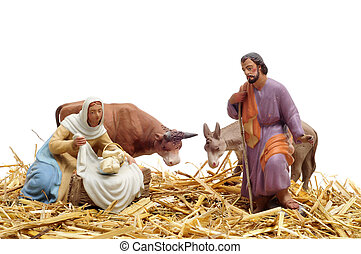 nativity scene - figures representing nativity scene on...