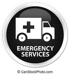 Emergency services premium black round button - Emergency...