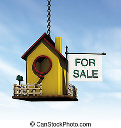 bird house sale - illustration 3d, bird house on sale