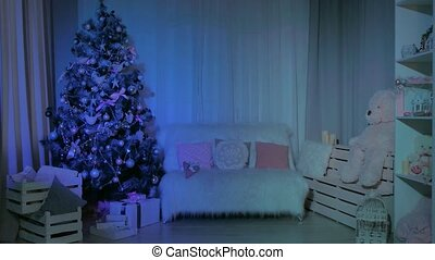 living room, decorated for the new year - a living room with...