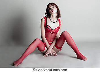 Attractive sexy woman in red