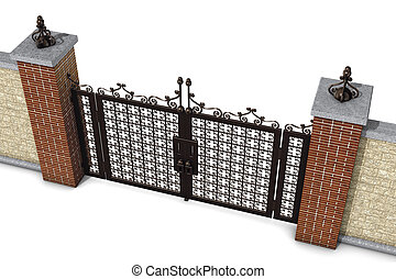 gate and wall top - illustration 3d, gate and wall top