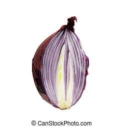 cut fresh red onion