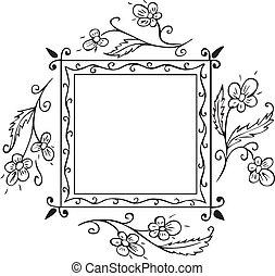 Floral frame decoration - Square floral frame decoration for...