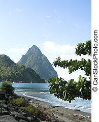 Caribbean Sea view twin piton peaks and volcano mountains...