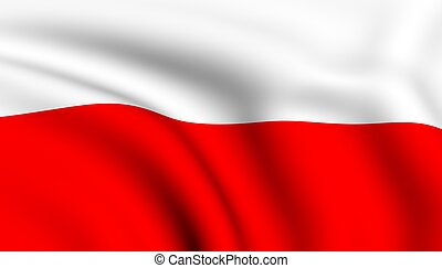 Flag of Poland. Close up. Front view.