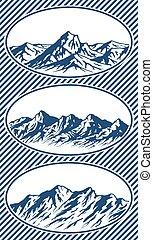 Set of mountain range silhouettes - Set of Mountain range...