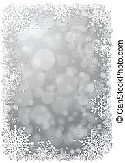 Silver Christmas background with snowflakes - Silver...