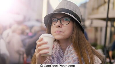 Close-up of Girl Having Coffee - Relaxed caucasian girl, in...