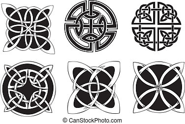 Knot Decoration Dingbats - Six miscellaneous knot dingbat...