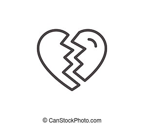 Break up Love line icon. Divorce sign. Valentines day...