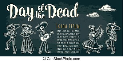 Horizontal poster for Dia de los Muertos. Day of the Dead...