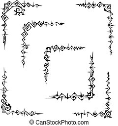 Ornamental corner patterns - Seven original ornamental...