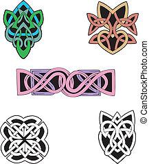 Knot Decoration Dingbats & Patterns - Four miscellaneous...