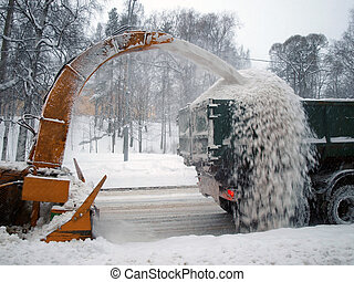 Snow removal machines on the road
