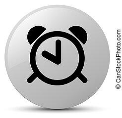 Alarm clock icon white round button - Alarm clock icon...