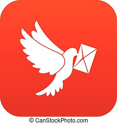 Dove carrying envelope icon digital red for any design...