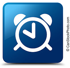 Alarm clock icon blue square button - Alarm clock icon...