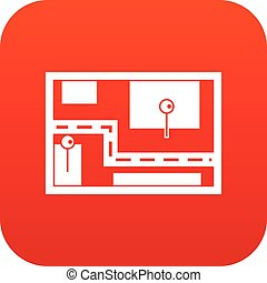 Navigator icon digital red for any design isolated on white...