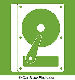 HDD icon green - HDD icon white isolated on green...