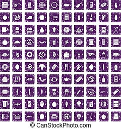 100 lunch icons set grunge purple - 100 lunch icons set in...