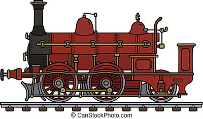 Vintage red steam locomotive - Hand drawing of a vintage red...