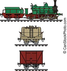 Historical steam train - Hand drawing of a historical steam...