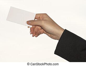 Female holding businesscard - female hand holding blank...