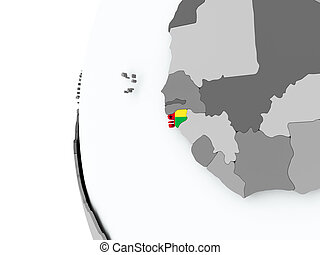 Guinea-Bissau on globe with flag - Illustration of...